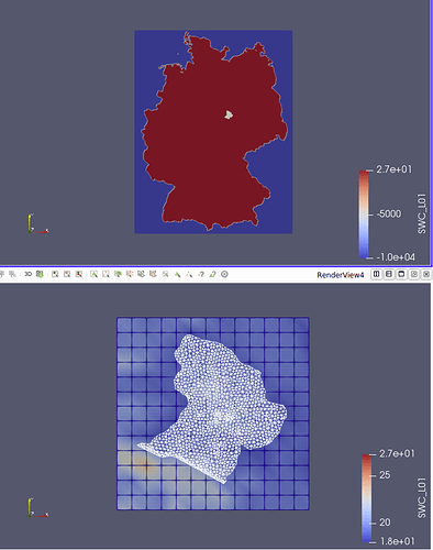 (top) overlaying grids, (bottom) sub region of big grid clipped to small grid