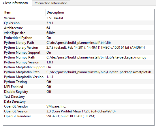 OpenGL in VMWare with Windows guest - ParaView Support