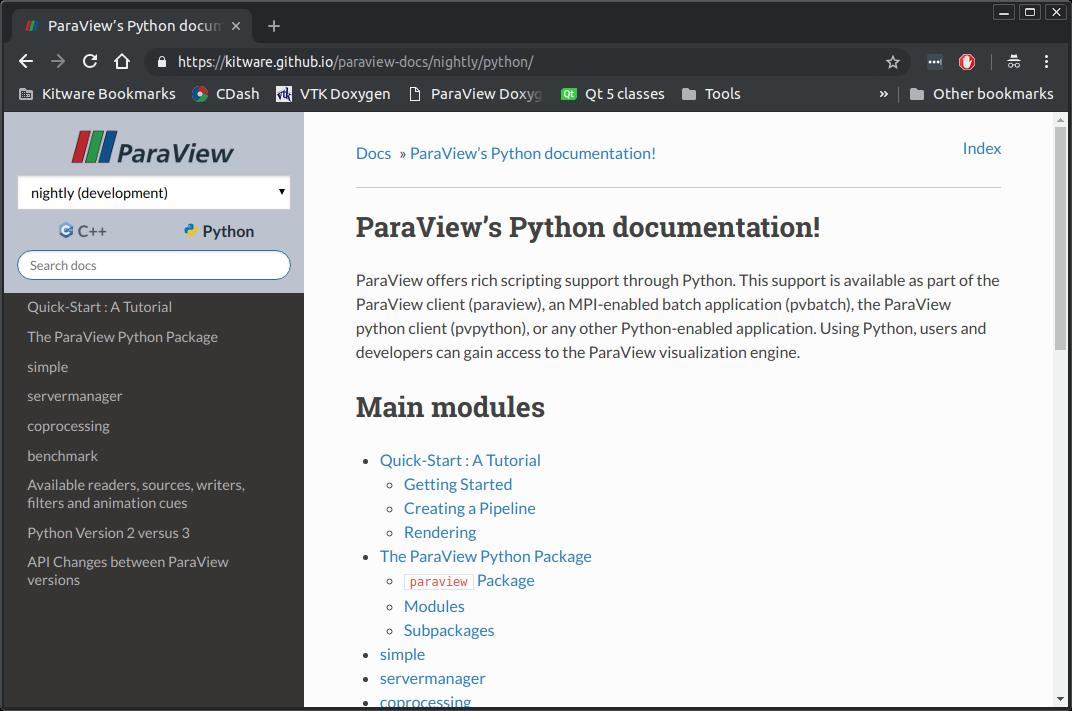 New ways to access ParaView C++ and Python API docs
