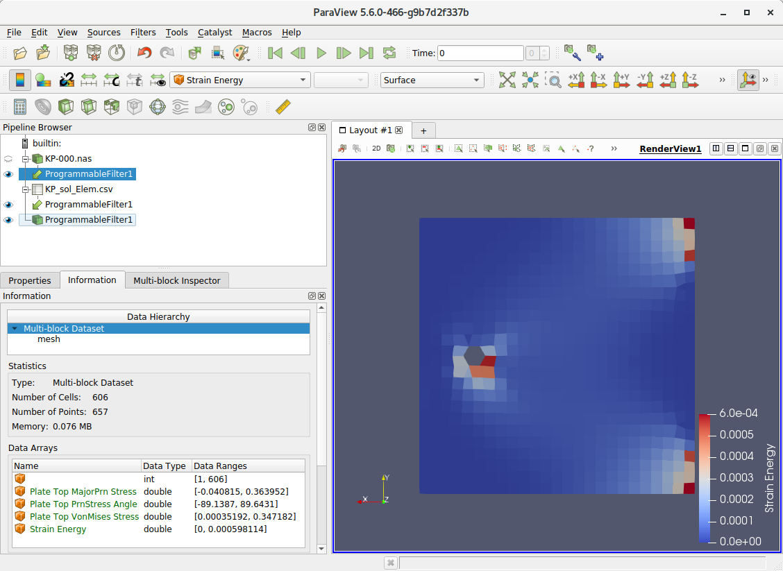 Reading Nastran  nas file and Results with  csv file - ParaView